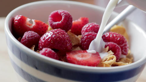 Cereal with fresh fruit Footage