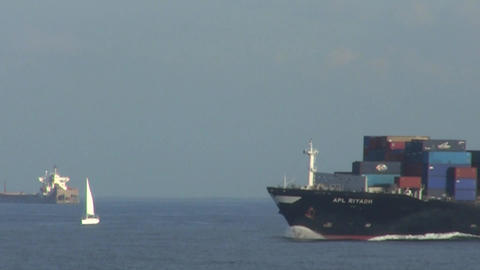 Container Ship at Speed Footage