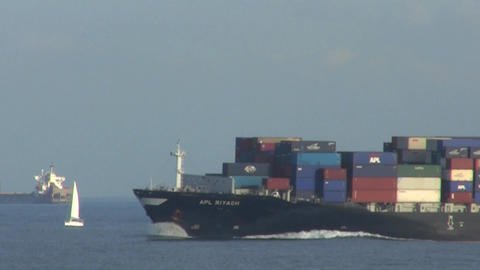 Container Ship at Speed Stock Video Footage