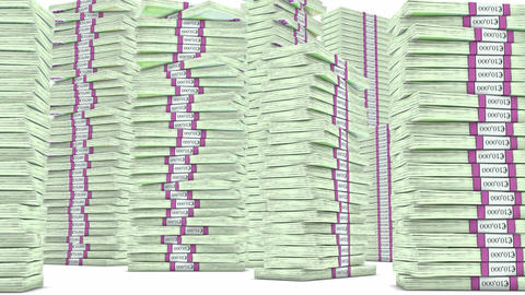 100 Euro bundles stacks falling down. Wealth and money Stock Video Footage