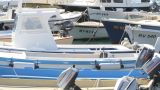 Boats In Rovinj Harbor, Croatia stock footage