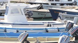 Boats in Rovinj Harbor, Croatia Stock Video Footage