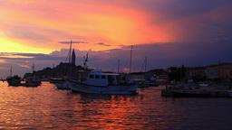 Rovinj city on sunset, Croatia Stock Video Footage