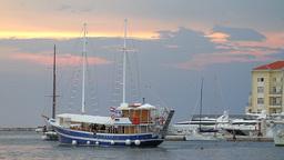 Boat arriving at Porec dock, Croatia Footage