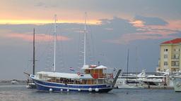 Boat arriving at Porec dock, Croatia Stock Video Footage