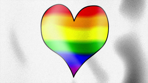 waving white flag rainbow heart Stock Video Footage