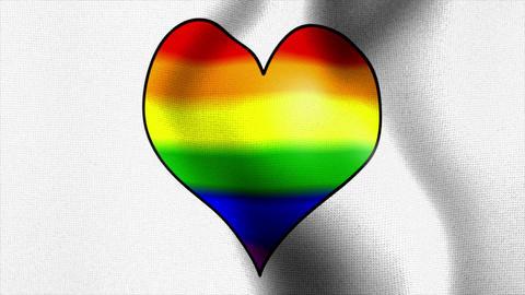 waving white flag rainbow heart Stock Video Footage
