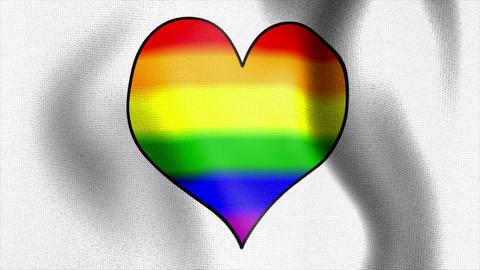 Waving White Flag Rainbow Heart stock footage