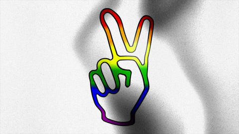 rainbow victory sign white waving flag Stock Video Footage