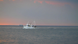 Seascape with yacht, sunset Stock Video Footage