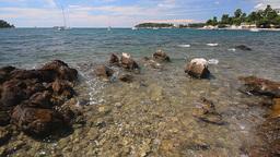 Seascape, waves splashing the rocky coastline Stock Video Footage