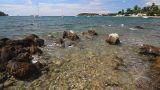 Seascape, Waves Splashing The Rocky Coastline stock footage