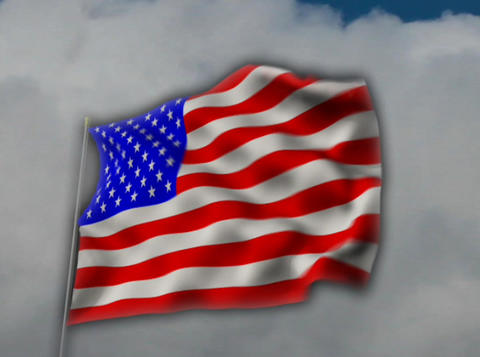 American Flag Cloud Animation Stock Video Footage