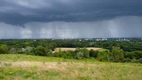 thunderstorm lightning hits tv tower Stock Video Footage