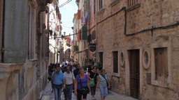 A narrow street in old town, Rovinj, Croatia Footage
