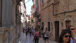 A narrow street in old town, Rovinj, Croatia Stock Video Footage