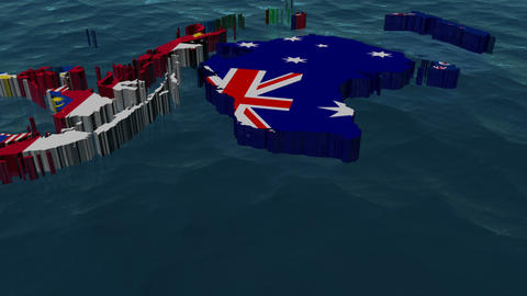 Australia 3D Flag World Slow Zoom with no Clouds Animation