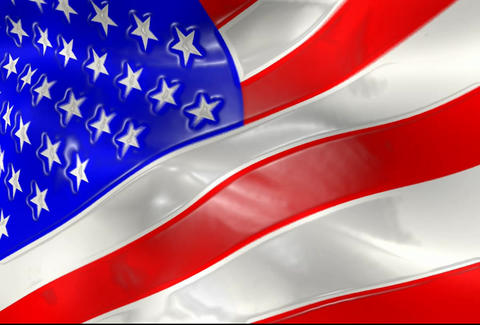 American Flag Animation Close Up With Shine Effect Stock Video Footage