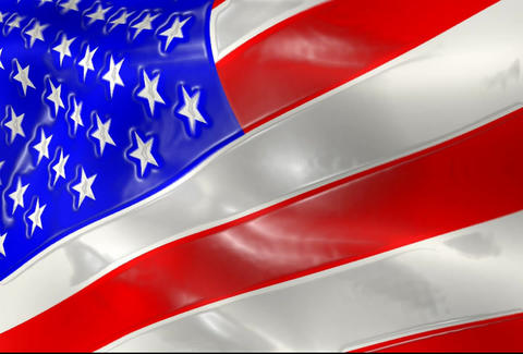 American Flag Animation Close Up With Shine Effect CG動画素材