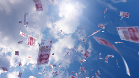 Money falling Ga7 cny HD Stock Video Footage