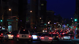 Traffic jam, New York City, night shot Stock Video Footage