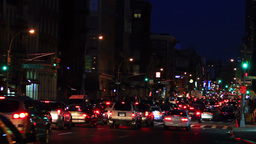 Traffic jam, New York City, night shot Stock Video Footage