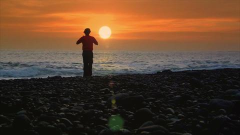 business man suicide sundown beach Stock Video Footage