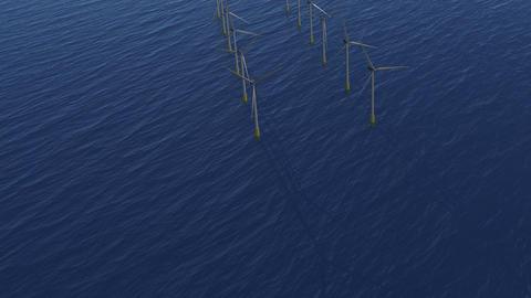 Wind Farm Stunt Flight. Animation. HD Stock Video Footage