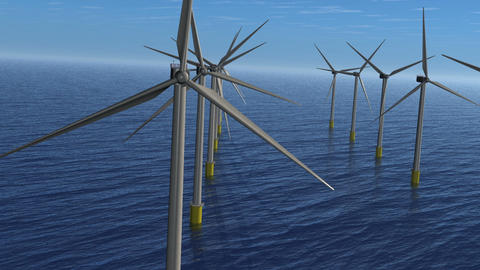Wind Farm Stunt Flight. Animation. HD Animation