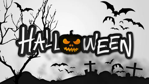 Halloween Black Pumpkin Night Graveyard Animation  Animation