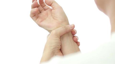 Female Wrist Pain Over Shoulder Footage