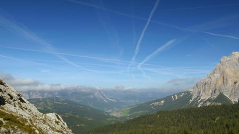 4k UHD time lapse contrails over dolomites 11524 Footage