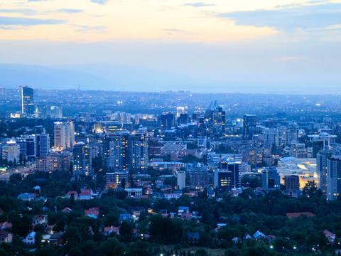 Night over the city. Almaty, Kazakhstan. 640x480 Footage