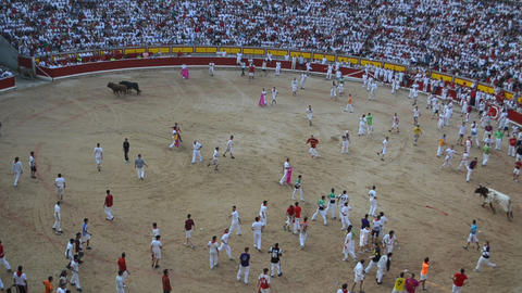 Bullfight in Pamplona, Spain Footage