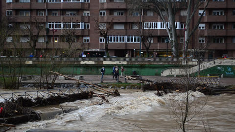 Floods in city river Footage