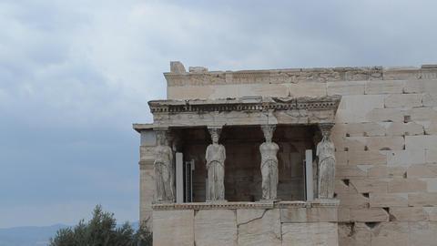 Caryathides, Erechtheion, Acropolis, Athens, Greec stock footage