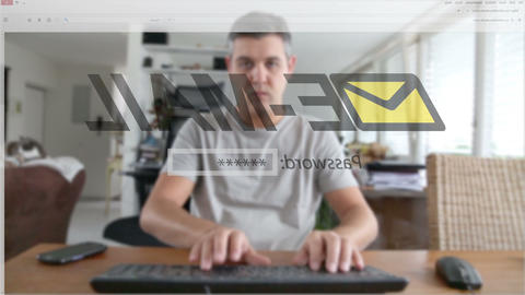 Man Entering The Wrong Email Account Password stock footage