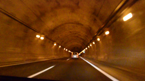 Driving Time lapse. Tunnel Footage