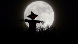 Scarecrow And Full Moon stock footage