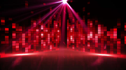 Red music pixel design with lights Animation