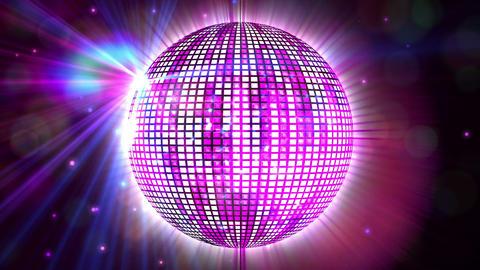 Shiny purple disco ball spinning around Animation