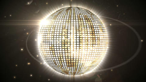 Shiny gold disco ball spinning around Animation