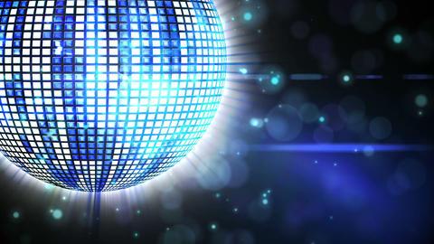 Shiny blue disco ball spinning around Animation