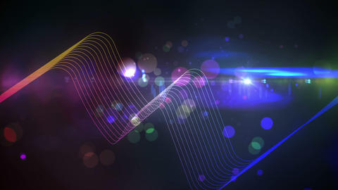 Colourful abstract glowing design on black Animation