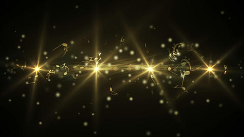 Golden abstract music design on black Animation