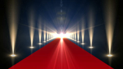 Long red carpet with spotlights Animation