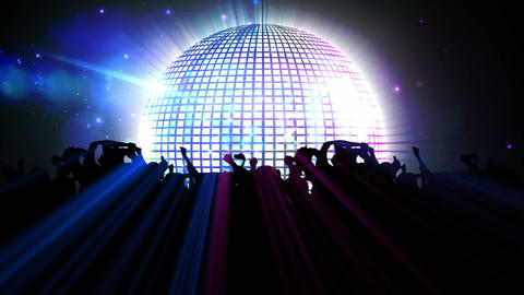 Nightclub with disco ball and dancing crowd Animation