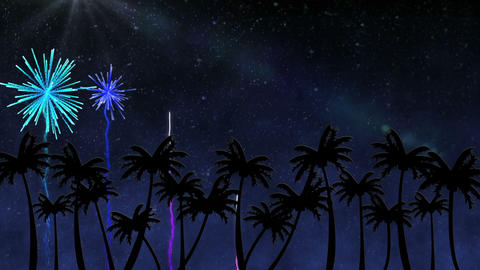 Colourful fireworks over palm trees Animation