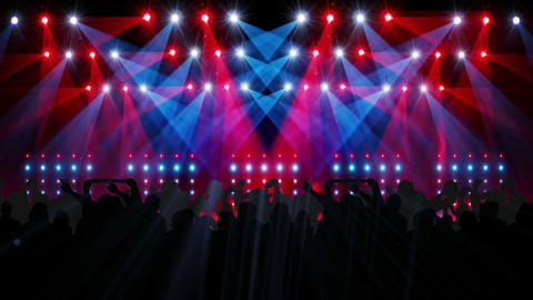 Nightclub with light show and dancing crowd, Stock Animation