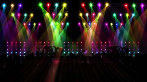 Nightclub with light show and dancing crowd Animation